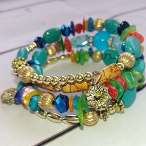 Jewelry - Boho Multi-Color Wrap Bead Bracelet Turquoise Gold